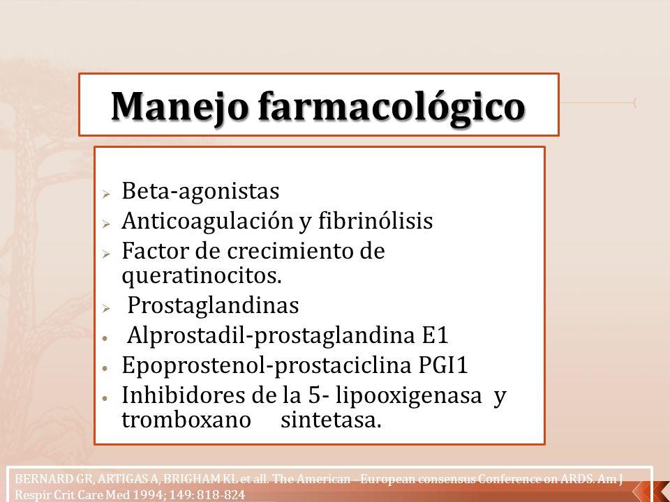 Beta-agonistas Anticoagulación y fibrinólisis Factor de crecimiento de queratinocitos. Prostaglandinas Alprostadil-prostaglandina E1 Epoprostenol-pros
