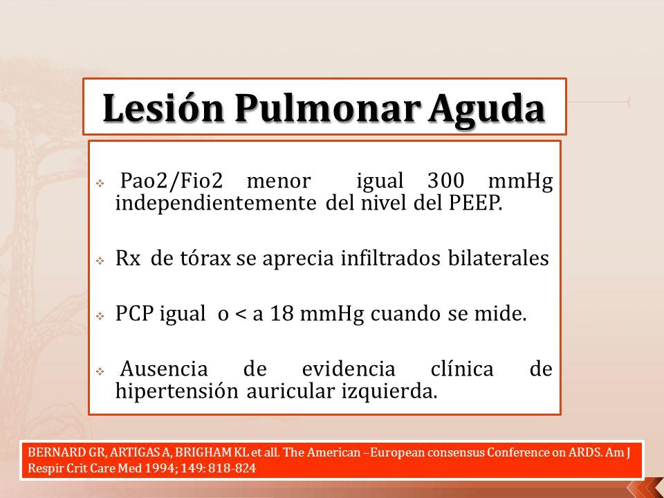 Pao2/Fio2 menor igual 300 mmHg independientemente del nivel del PEEP. Rx de tórax se aprecia infiltrados bilaterales PCP igual o < a 18 mmHg cuando se