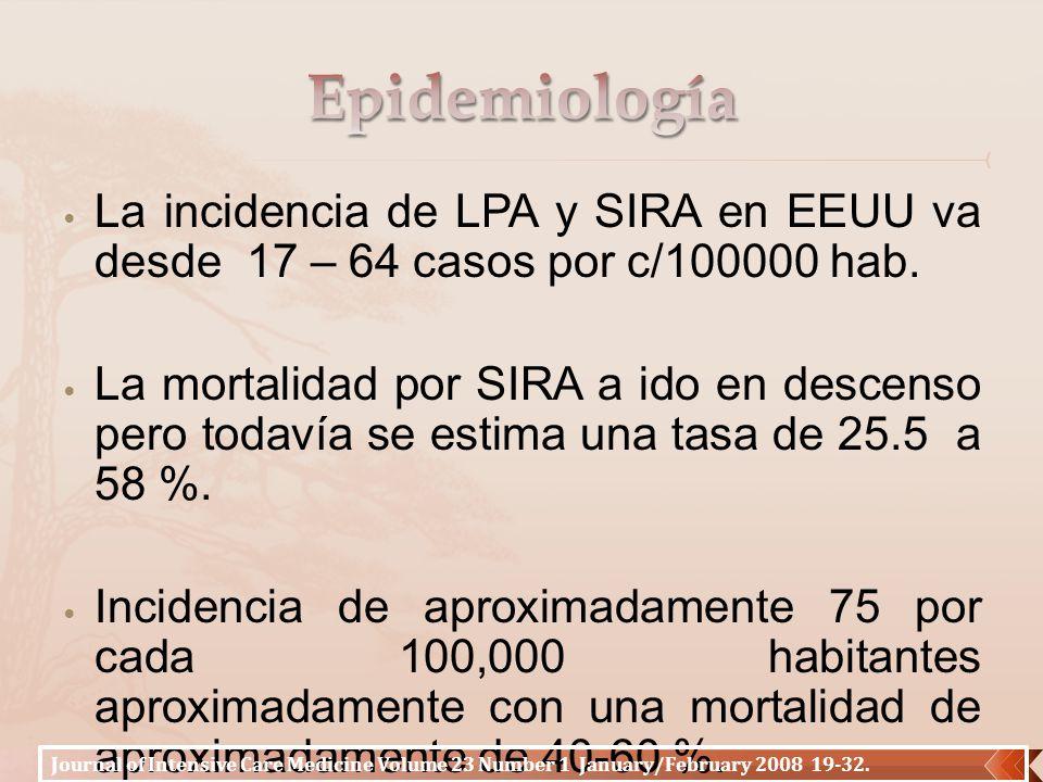 La incidencia de LPA y SIRA en EEUU va desde 17 – 64 casos por c/100000 hab. La mortalidad por SIRA a ido en descenso pero todavía se estima una tasa