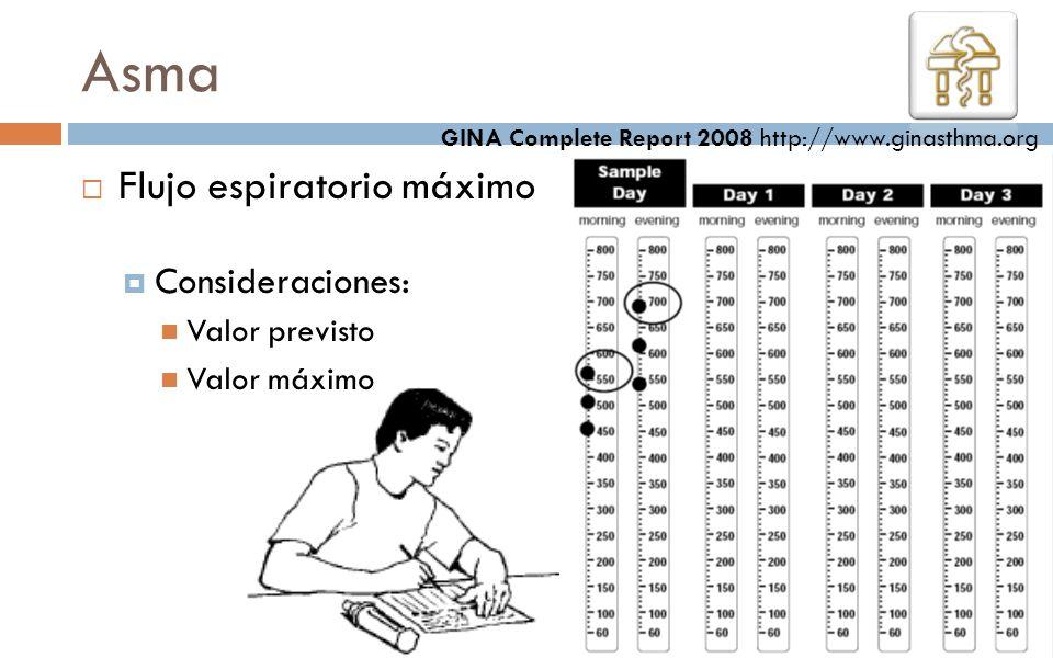 Flujo espiratorio máximo Consideraciones: Valor previsto Valor máximo Asma GINA Complete Report 2008 http://www.ginasthma.org