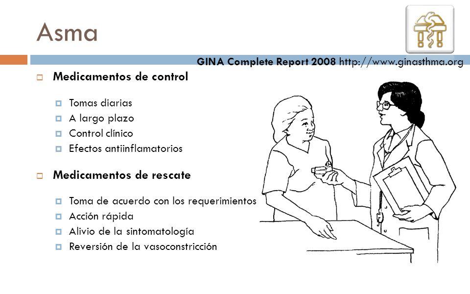 Medicamentos de control Tomas diarias A largo plazo Control clínico Efectos antiinflamatorios Medicamentos de rescate Toma de acuerdo con los requerim