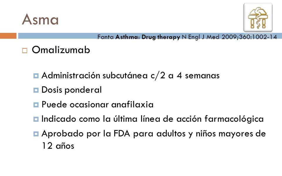 Omalizumab Administración subcutánea c/2 a 4 semanas Dosis ponderal Puede ocasionar anafilaxia Indicado como la última línea de acción farmacológica A