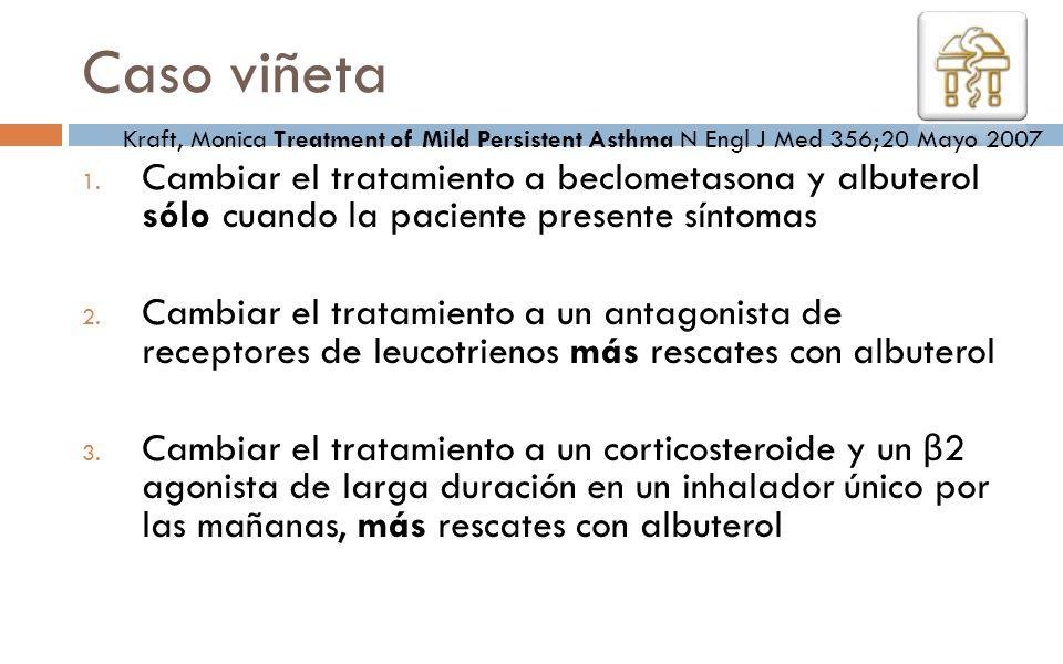 1. Cambiar el tratamiento a beclometasona y albuterol sólo cuando la paciente presente síntomas 2. Cambiar el tratamiento a un antagonista de receptor