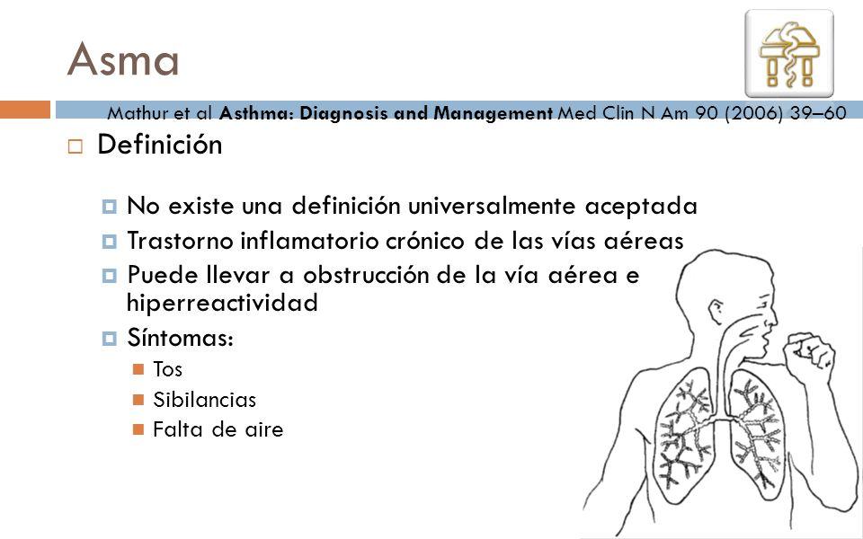 Asma Definición No existe una definición universalmente aceptada Trastorno inflamatorio crónico de las vías aéreas Puede llevar a obstrucción de la ví