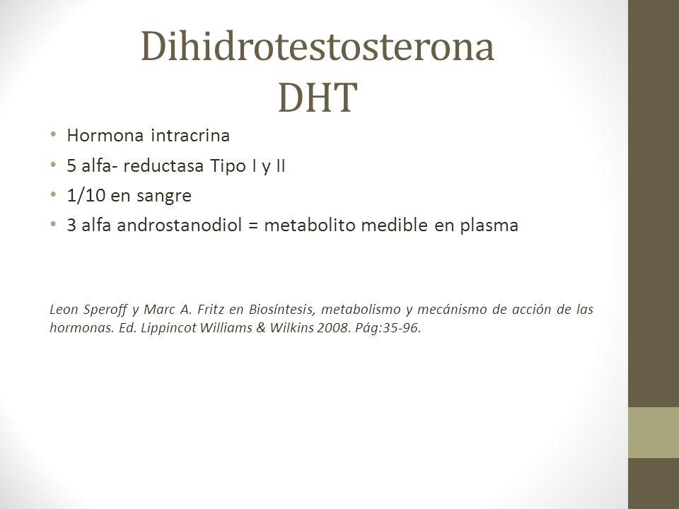 Dihidrotestosterona DHT Hormona intracrina 5 alfa- reductasa Tipo I y II 1/10 en sangre 3 alfa androstanodiol = metabolito medible en plasma Leon Sper