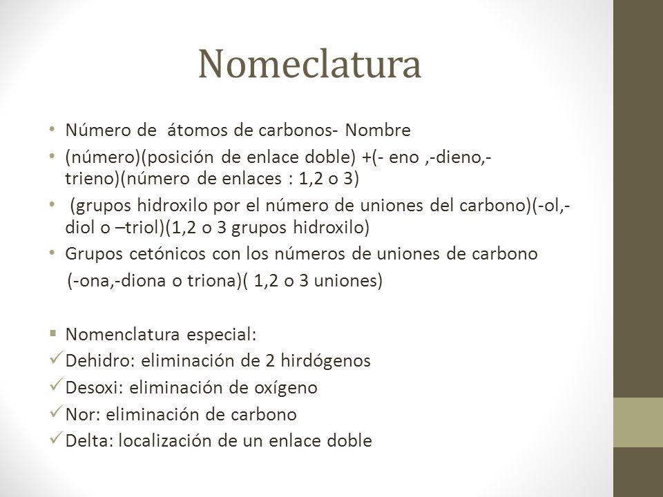 Nomeclatura Número de átomos de carbonos- Nombre (número)(posición de enlace doble) +(- eno,-dieno,- trieno)(número de enlaces : 1,2 o 3) (grupos hidr