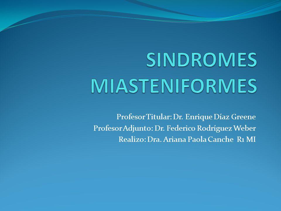 Síndromes miasteniformes Clínica: Aparece 1-2 días tras la ingesta.