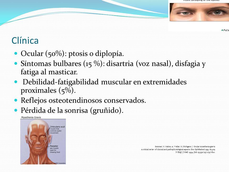 Clínica Ocular (50%): ptosis o diplopía. Síntomas bulbares (15 %): disartria (voz nasal), disfagia y fatiga al masticar. Debilidad-fatigabilidad muscu