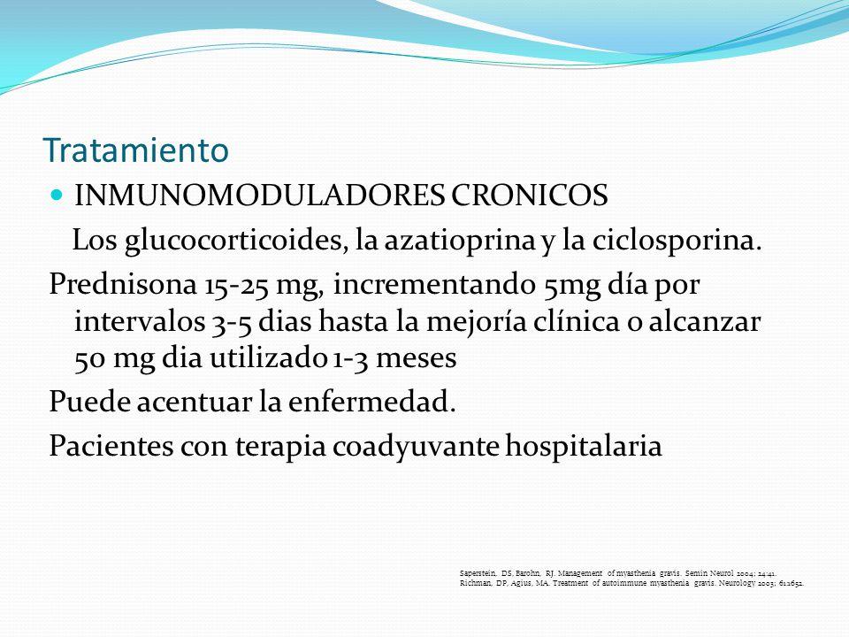 Tratamiento INMUNOMODULADORES CRONICOS Los glucocorticoides, la azatioprina y la ciclosporina. Prednisona 15-25 mg, incrementando 5mg día por interval