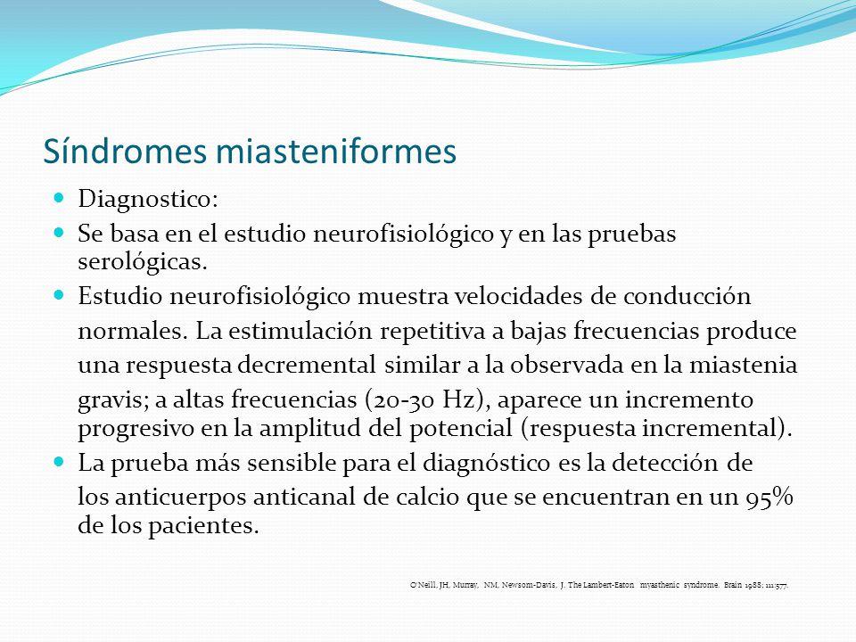 Síndromes miasteniformes Diagnostico: Se basa en el estudio neurofisiológico y en las pruebas serológicas. Estudio neurofisiológico muestra velocidade