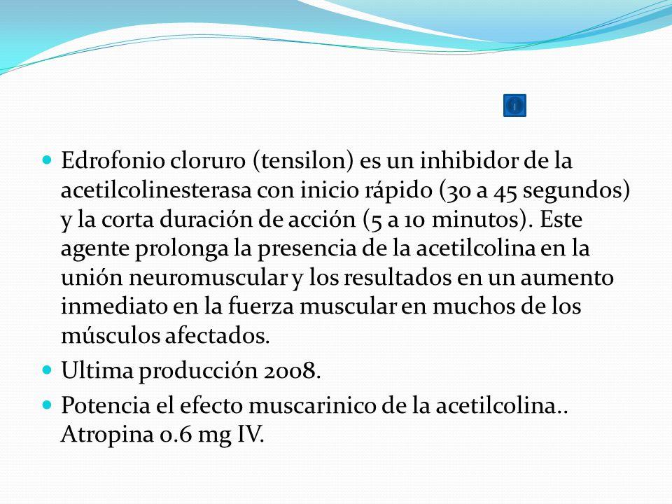 Edrofonio cloruro (tensilon) es un inhibidor de la acetilcolinesterasa con inicio rápido (30 a 45 segundos) y la corta duración de acción (5 a 10 minu