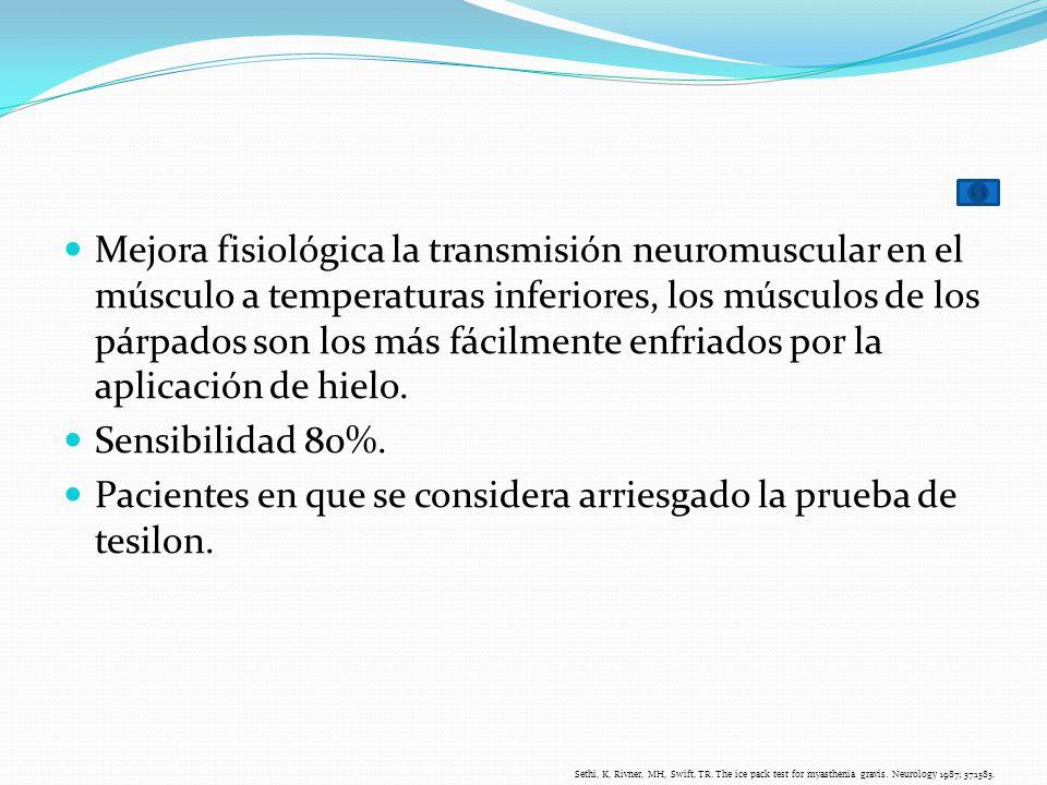 Mejora fisiológica la transmisión neuromuscular en el músculo a temperaturas inferiores, los músculos de los párpados son los más fácilmente enfriados