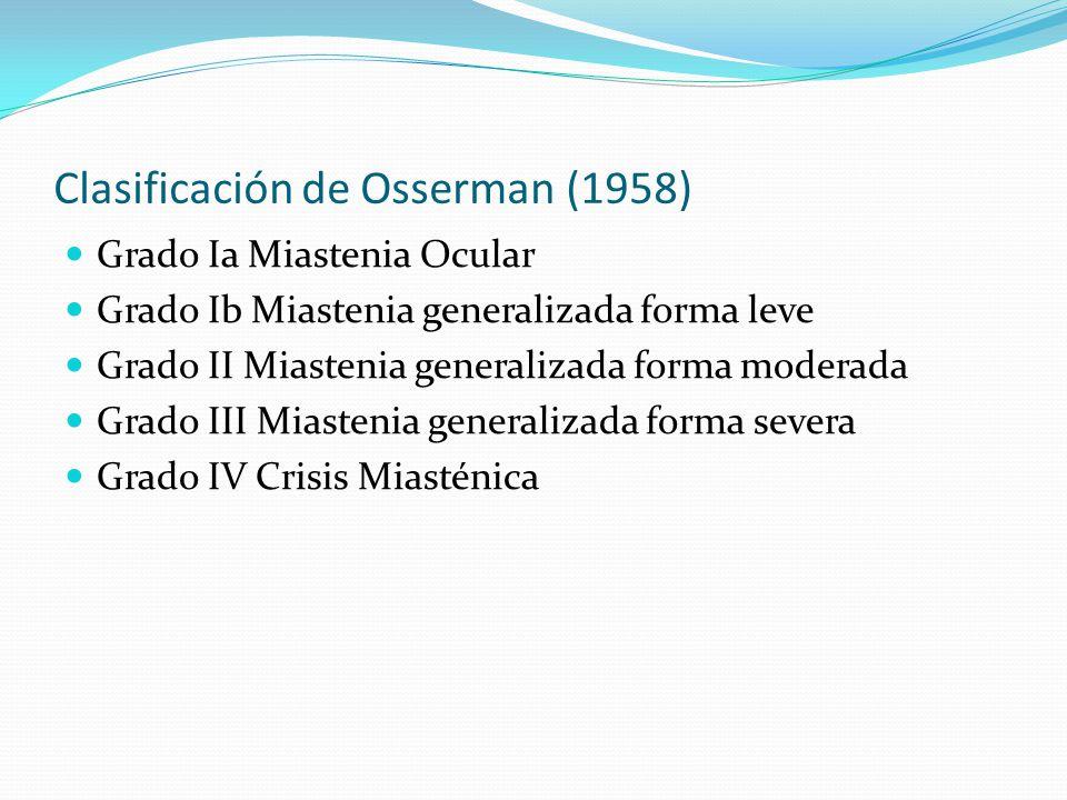 Clasificación de Osserman (1958) Grado Ia Miastenia Ocular Grado Ib Miastenia generalizada forma leve Grado II Miastenia generalizada forma moderada G