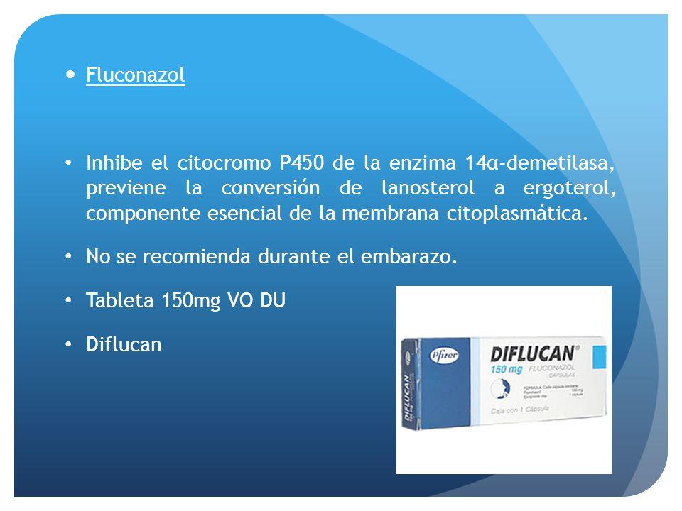 Fluconazol Inhibe el citocromo P450 de la enzima 14α-demetilasa, previene la conversión de lanosterol a ergoterol, componente esencial de la membrana