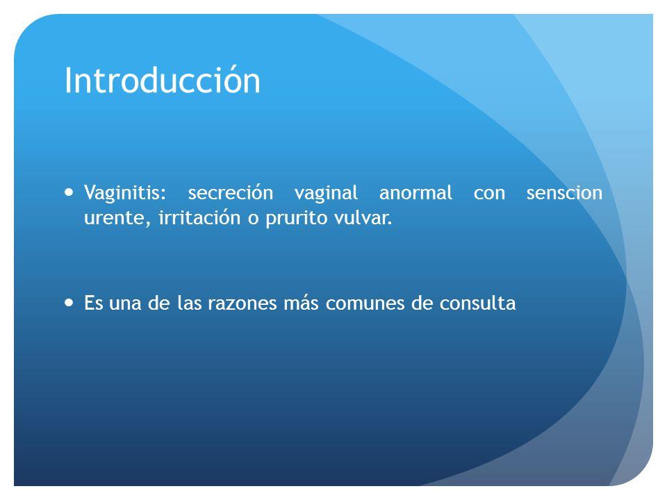 Introducción Vaginitis: secreción vaginal anormal con senscion urente, irritación o prurito vulvar. Es una de las razones más comunes de consulta