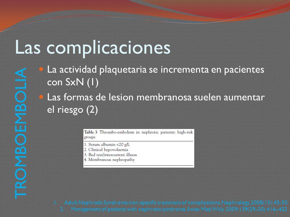Las complicaciones La actividad plaquetaria se incrementa en pacientes con SxN (1) Las formas de lesion membranosa suelen aumentar el riesgo (2) TROMB