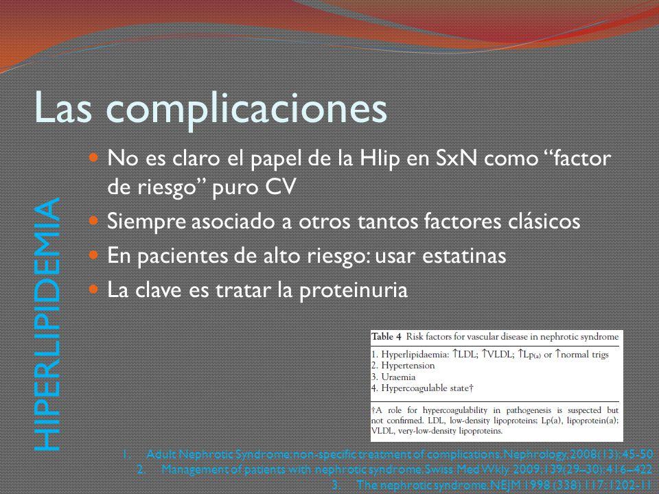 Las complicaciones No es claro el papel de la Hlip en SxN como factor de riesgo puro CV Siempre asociado a otros tantos factores clásicos En pacientes