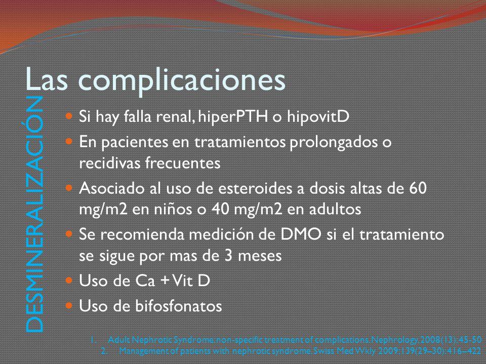 Las complicaciones Si hay falla renal, hiperPTH o hipovitD En pacientes en tratamientos prolongados o recidivas frecuentes Asociado al uso de esteroid