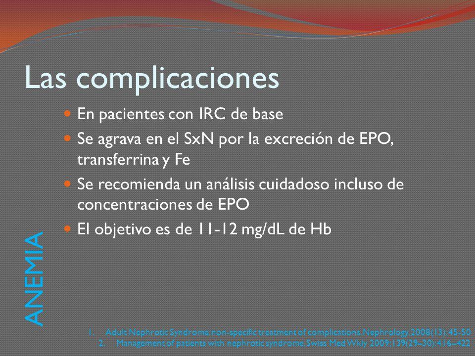 Las complicaciones En pacientes con IRC de base Se agrava en el SxN por la excreción de EPO, transferrina y Fe Se recomienda un análisis cuidadoso inc