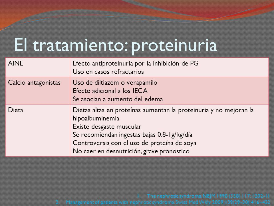 El tratamiento: proteinuria AINEEfecto antiproteinuria por la inhibición de PG Uso en casos refractarios Calcio antagonistasUso de diltiazem o verapam