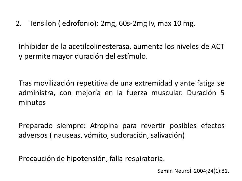 2.Tensilon ( edrofonio): 2mg, 60s-2mg Iv, max 10 mg. Inhibidor de la acetilcolinesterasa, aumenta los niveles de ACT y permite mayor duración del estí