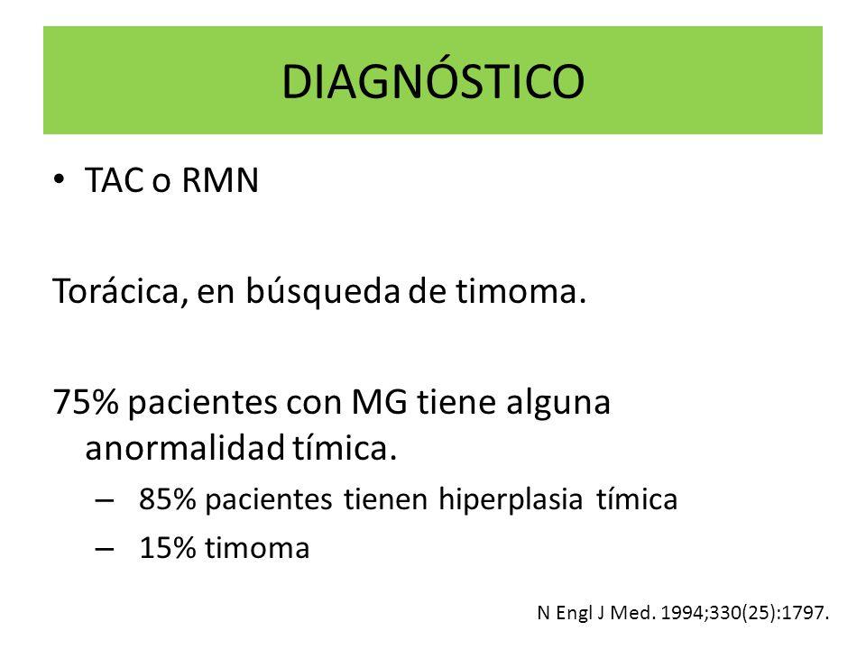 DIAGNÓSTICO TAC o RMN Torácica, en búsqueda de timoma. 75% pacientes con MG tiene alguna anormalidad tímica. – 85% pacientes tienen hiperplasia tímica