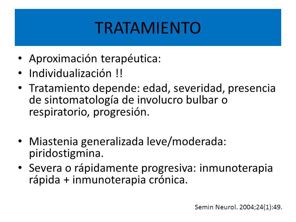 TRATAMIENTO Aproximación terapéutica: Individualización !.