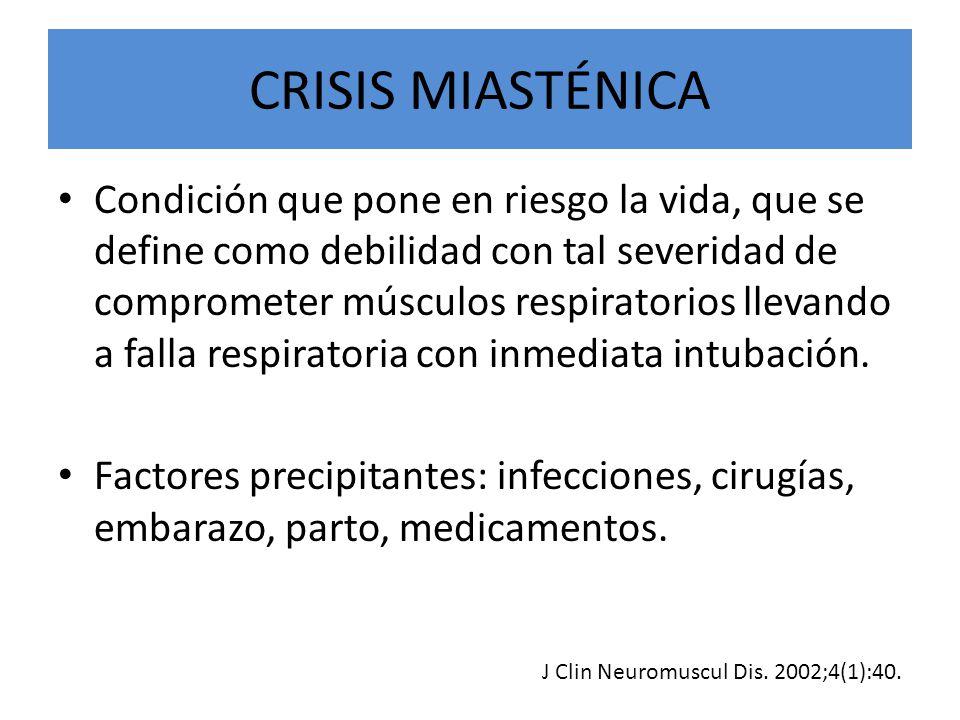 CRISIS MIASTÉNICA Condición que pone en riesgo la vida, que se define como debilidad con tal severidad de comprometer músculos respiratorios llevando a falla respiratoria con inmediata intubación.
