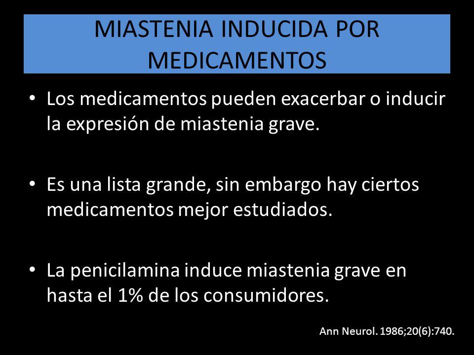 MIASTENIA INDUCIDA POR MEDICAMENTOS Los medicamentos pueden exacerbar o inducir la expresión de miastenia grave. Es una lista grande, sin embargo hay
