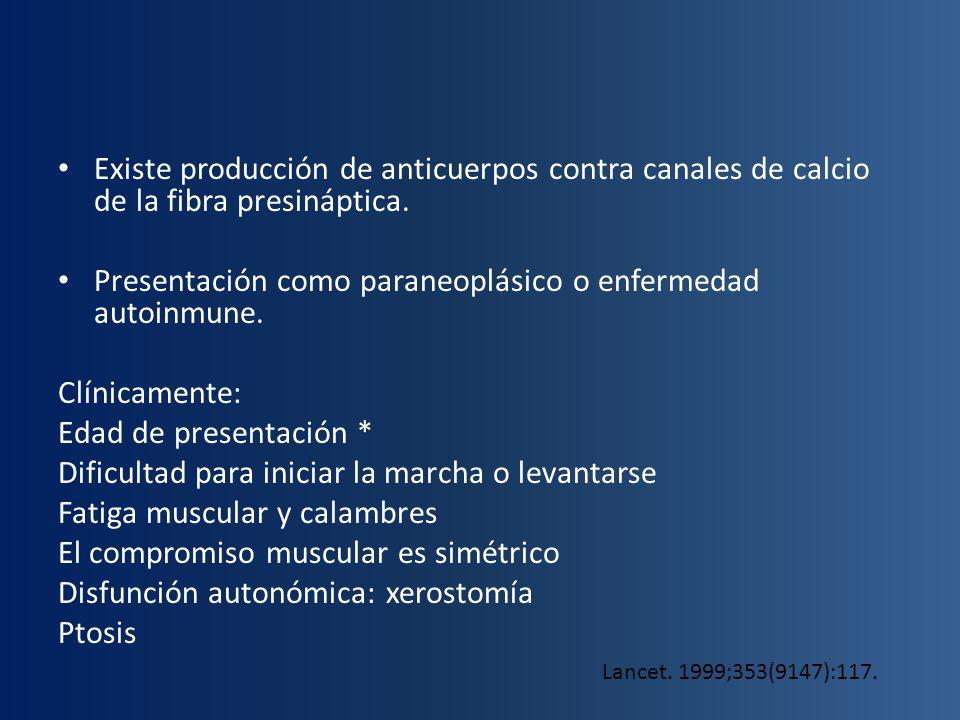 Existe producción de anticuerpos contra canales de calcio de la fibra presináptica. Presentación como paraneoplásico o enfermedad autoinmune. Clínicam