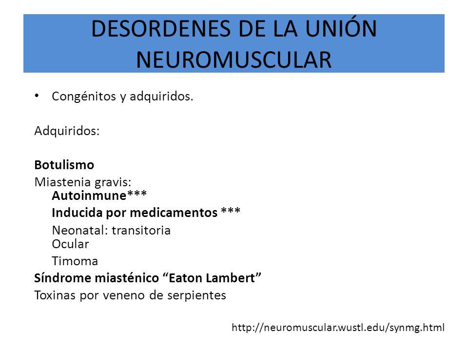 DESORDENES DE LA UNIÓN NEUROMUSCULAR Congénitos y adquiridos. Adquiridos: Botulismo Miastenia gravis: Autoinmune*** Inducida por medicamentos *** Neon