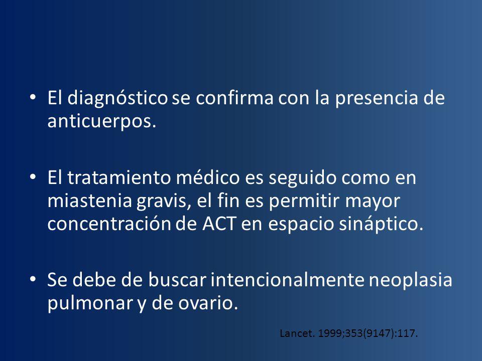 El diagnóstico se confirma con la presencia de anticuerpos. El tratamiento médico es seguido como en miastenia gravis, el fin es permitir mayor concen