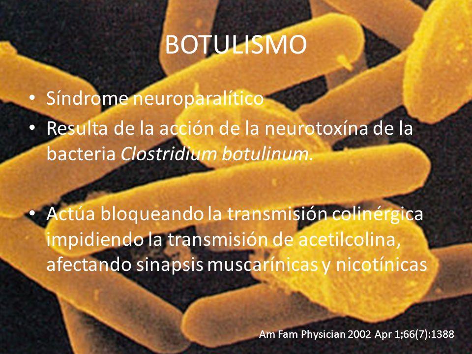BOTULISMO Síndrome neuroparalítico Resulta de la acción de la neurotoxína de la bacteria Clostridium botulinum. Actúa bloqueando la transmisión coliné