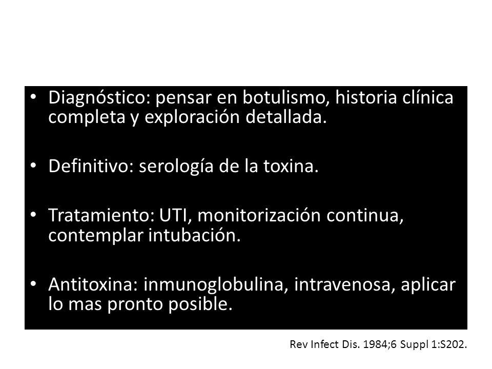 Diagnóstico: pensar en botulismo, historia clínica completa y exploración detallada. Definitivo: serología de la toxina. Tratamiento: UTI, monitorizac
