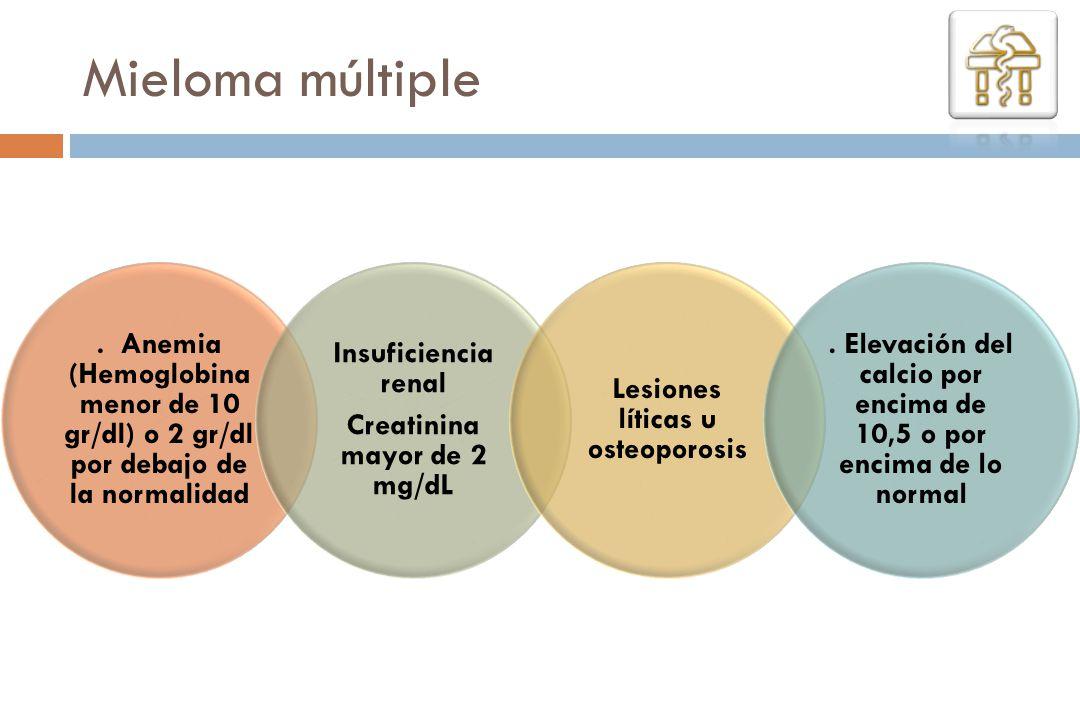 Mieloma múltiple. Anemia (Hemoglobina menor de 10 gr/dl) o 2 gr/dl por debajo de la normalidad Insuficiencia renal Creatinina mayor de 2 mg/dL Lesione