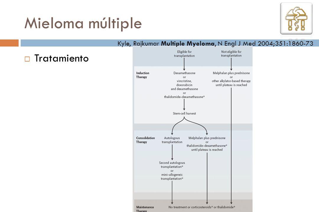 Mieloma múltiple Tratamiento Kyle, Rajkumar Multiple Myeloma, N Engl J Med 2004;351:1860-73