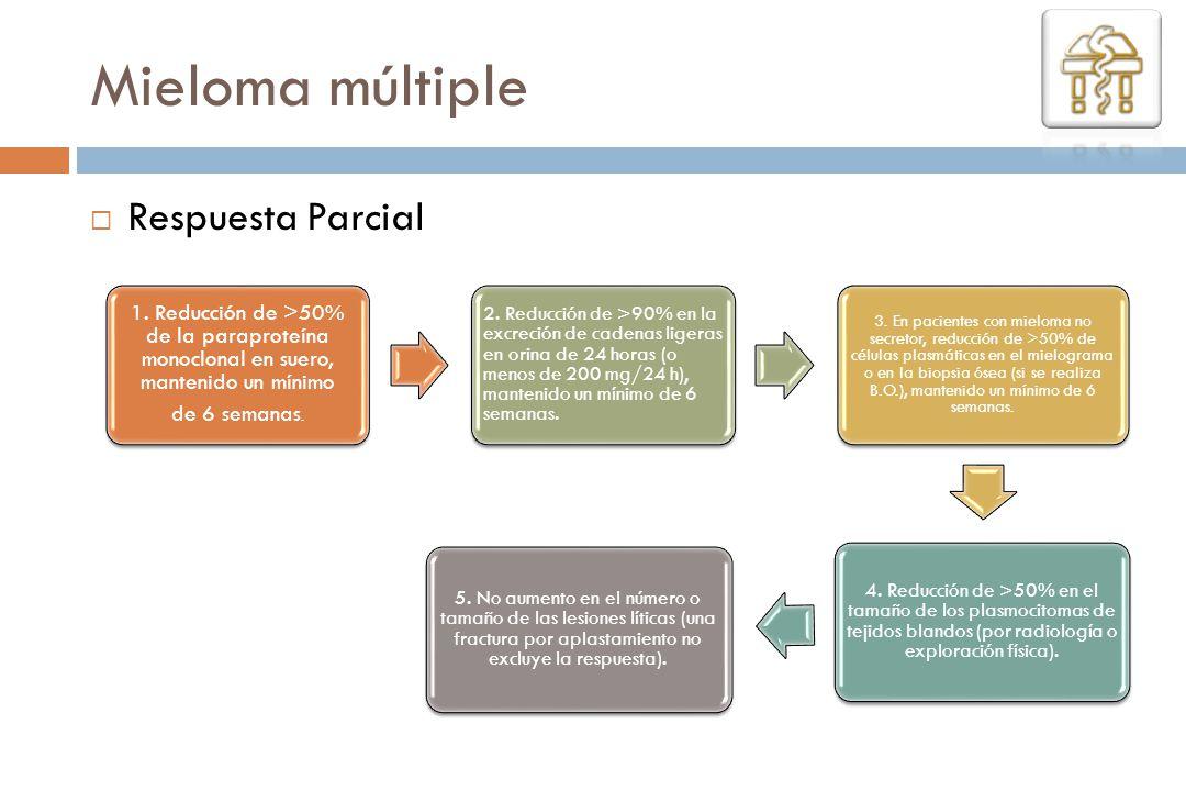 Respuesta Parcial Mieloma múltiple 1. Reducción de >50% de la paraproteína monoclonal en suero, mantenido un mínimo de 6 semanas. 2. Reducción de >90%