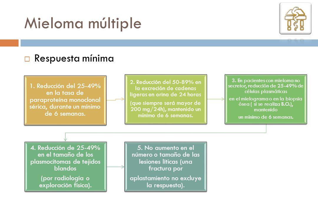 1. Reducción del 25-49% en la tasa de paraproteína monoclonal sérica, durante un mínimo de 6 semanas. 2. Reducción del 50-89% en la excreción de caden