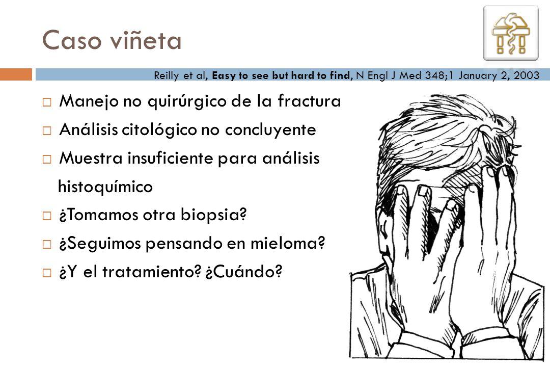 Caso viñeta Manejo no quirúrgico de la fractura Análisis citológico no concluyente Muestra insuficiente para análisis histoquímico ¿Tomamos otra biops