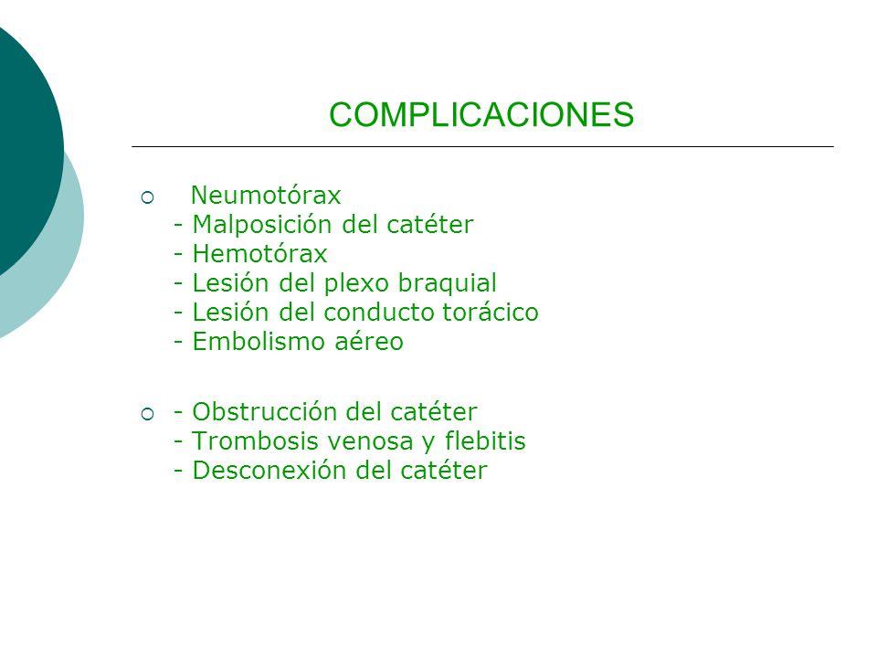 COMPLICACIONES Neumotórax - Malposición del catéter - Hemotórax - Lesión del plexo braquial - Lesión del conducto torácico - Embolismo aéreo - Obstrucción del catéter - Trombosis venosa y flebitis - Desconexión del catéter