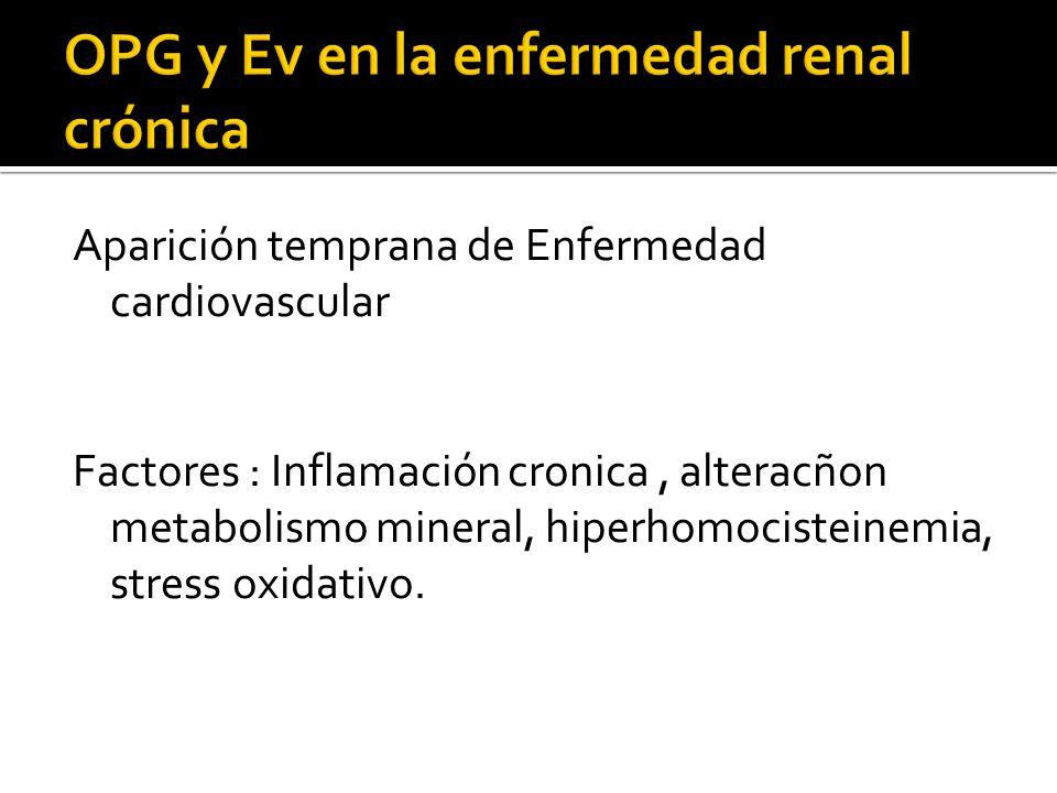 Aparición temprana de Enfermedad cardiovascular Factores : Inflamación cronica, alteracñon metabolismo mineral, hiperhomocisteinemia, stress oxidativo