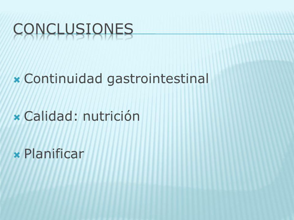 Continuidad gastrointestinal Calidad: nutrición Planificar