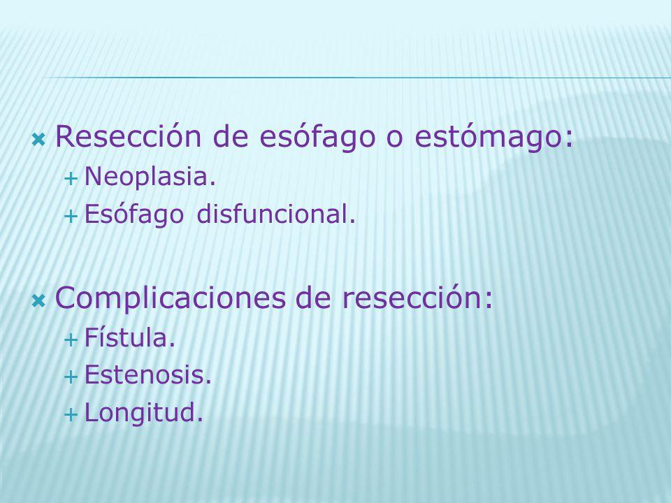 Resección de esófago o estómago: Neoplasia. Esófago disfuncional. Complicaciones de resección: Fístula. Estenosis. Longitud.