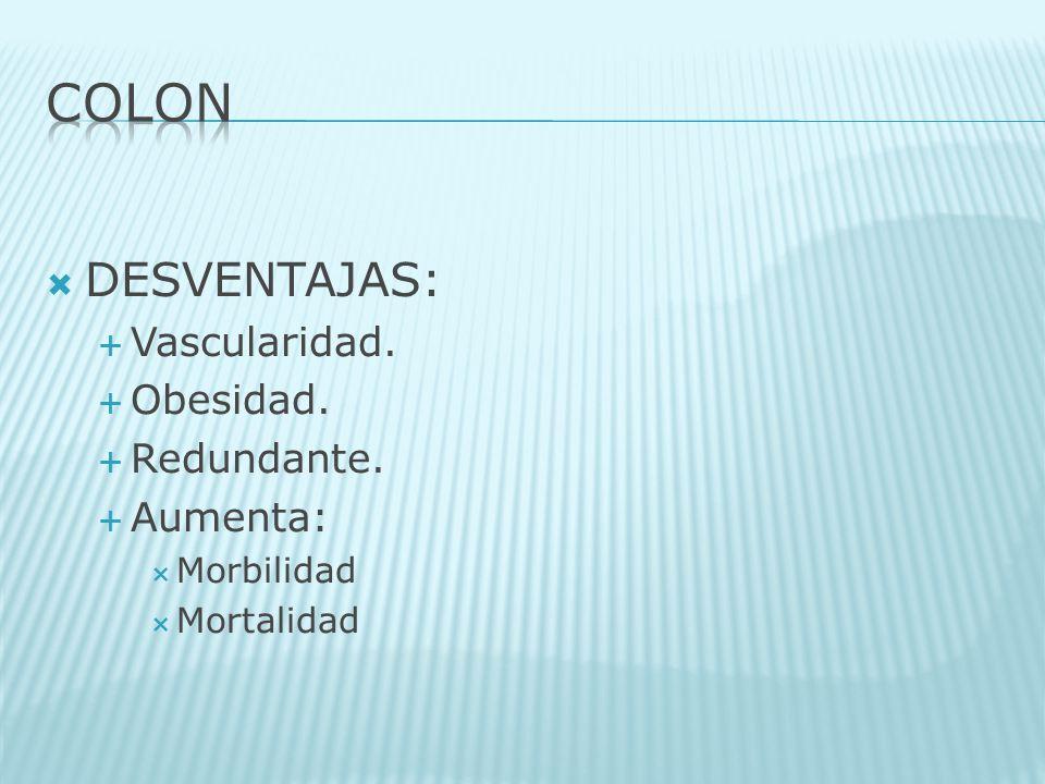 DESVENTAJAS: Vascularidad. Obesidad. Redundante. Aumenta: Morbilidad Mortalidad