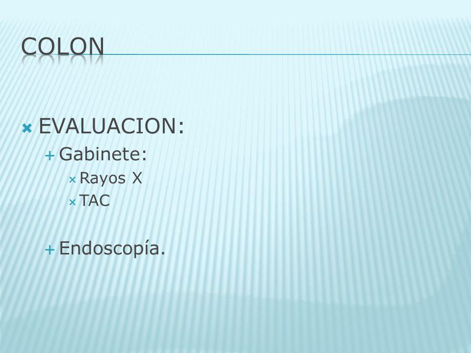 EVALUACION: Gabinete: Rayos X TAC Endoscopía.