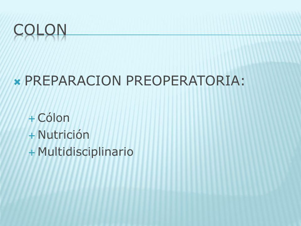 PREPARACION PREOPERATORIA: Cólon Nutrición Multidisciplinario