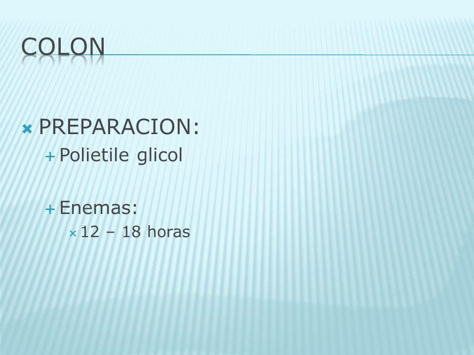 PREPARACION: Polietile glicol Enemas: 12 – 18 horas