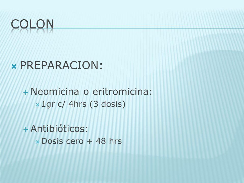 PREPARACION: Neomicina o eritromicina: 1gr c/ 4hrs (3 dosis) Antibióticos: Dosis cero + 48 hrs