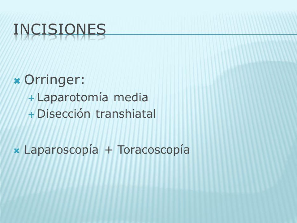 Orringer: Laparotomía media Disección transhiatal Laparoscopía + Toracoscopía