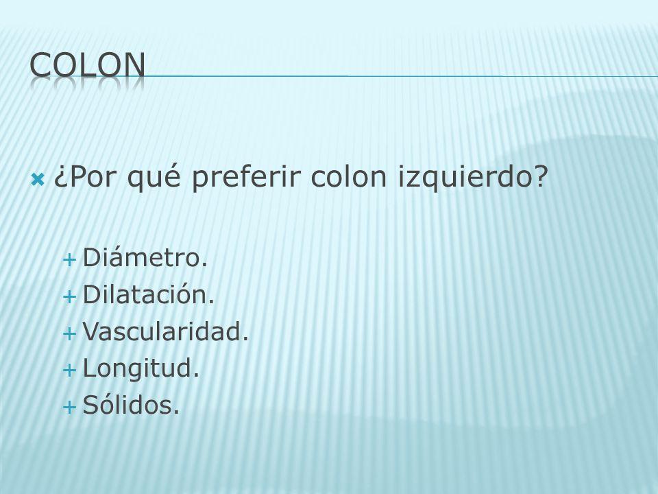 ¿Por qué preferir colon izquierdo? Diámetro. Dilatación. Vascularidad. Longitud. Sólidos.